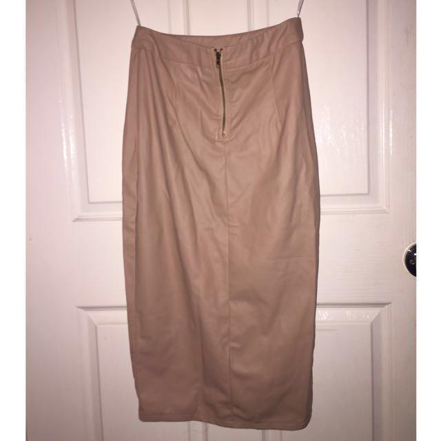 SHOWPO Nude Faux Leather Skirt