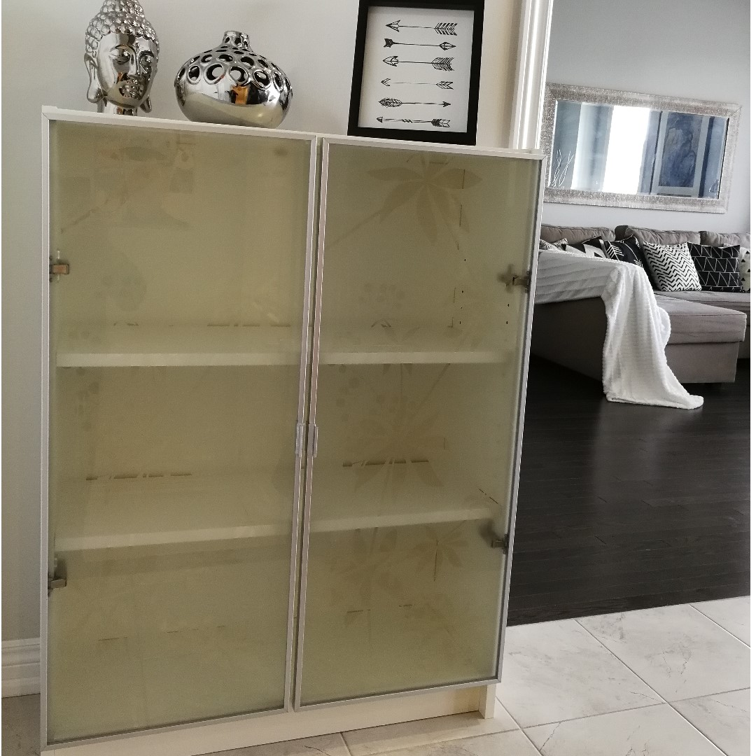 White Billy Bookcase with 2 x glass door w/ aluminum frame IKEA