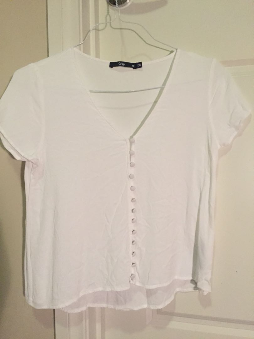 White button front tee top