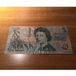 Rare old australia $5 banknote colour