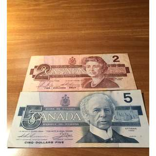 Old Canadian $2 and $5 (good condition) sold as a set