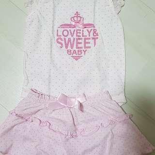 3-12 months romper+skirt baby girl