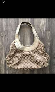REDUCED Coach Gold Leather Trim Canvas Bag