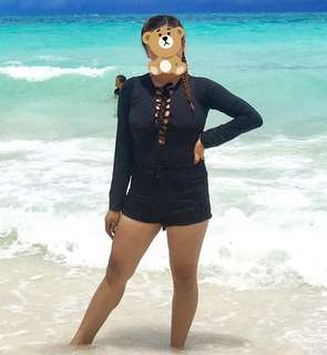 Long-sleeved one piece swimsuit