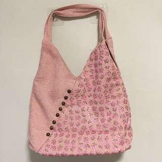 Preloved Pink Floral Hobo Handbag