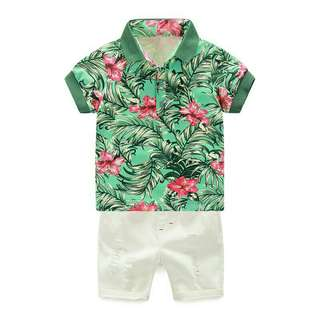 Bunga raya pattern tshirt + pants