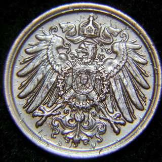 1912年德意志帝國(German Empire)皇家大鷹國徽2分寧(Pfennig)銅幣(德皇威廉二世時期, 美品)