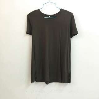 MUJI Army Green Modal Cotton A line Flare T Shirt