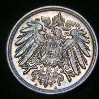 1912年德意志帝國(German Empire)皇家大鷹國徽1分寧(Pfennig)銅幣(德皇威廉二世時期, 美品)