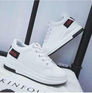 Slipon Putih Tali Murah - Sneakers Wedges Hitam - Sepatu Kets Branded - Sepatu Fashion Korean - Sepatu Senam Olahraga Gaya