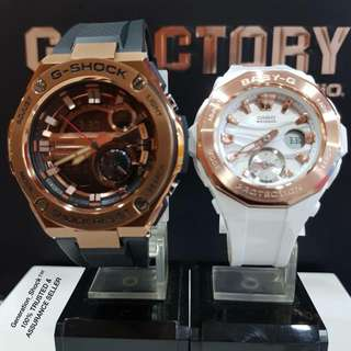 BEST SELLING COUPLE SET in CASIO BABYG GSHOCK DIVER WATCH : 1-YEAR OFFICIAL WARRANTY : 100%  ORIGINALLY AUTHENTIC BABY-G SHOCK Resistant GSTEEL in WHITE GLOSSY & BLACK ROSE🌹GOLD Absolutely Toughness BEST For Most Rough Users : BGA-220G & GST-210B