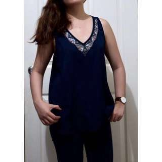 Preloved American Eagle Beaded Navy Top