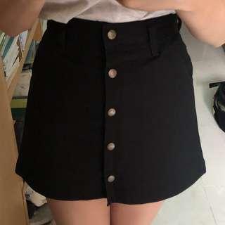 韓國黑色鈕扣半身A字裙裙