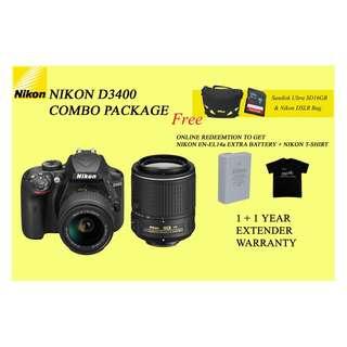 NIKON D3400 COMBO WITH 2 LENS
