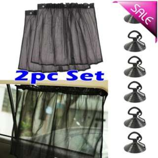 2 Pcs Suction Cup Black Mesh Window Curtains Car Sun Shade-Ready Stock !!