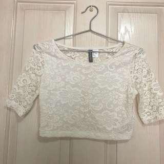 H&M White Lace Crop Top