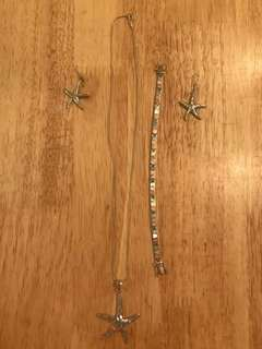 Starfish *** PRICE DROP*** Set of silver jewelry: necklace, earrings, bracelet