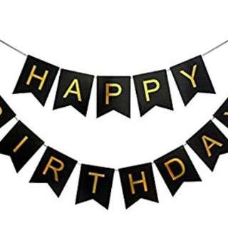 Birthday Bunting (black and gold)