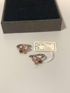 半價出售18K鍍金半寶石耳環