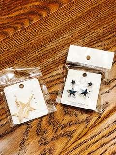 🚚 星星穿式耳環(兩個一起賣)