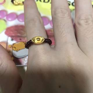 pure gold 硬金元寶+ 石榴石 戒指 rings