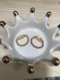 pure gold 硬金貔貅999戒指rings 可選擇(玫瑰金珠珠/k黃珠珠)For /1