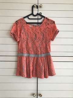 Sweet Coral Lace Top (Size M)