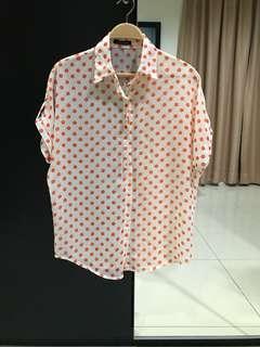 Mission 72 Orange Polka Dot Top (Size F)