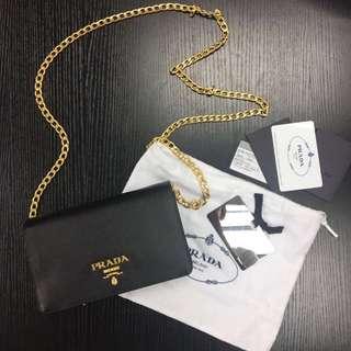 Prada saffiano black chain bag