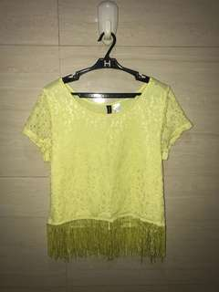 H&M divided ; yellow floral shirt