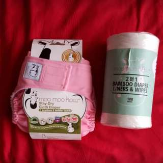Moo Moo Kow Cloth Diaper & 2-in-1 Bamboo Diaper Liners & Wipes