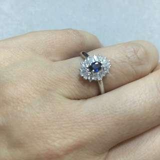 純銀鍍白金天然藍寶石戒指