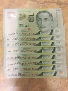 $5 notes Fancy 8 x running no. 3311-3399(Exclude 3344)