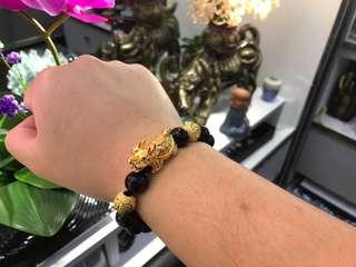 全新天然彩眼黑曜石配越南18克實心龍龜手鍊手串