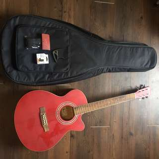 🚚 Bensons Acoustic Guitar Red with Guitar tuner, capo, guitar bag and strap