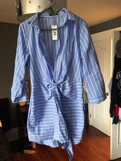 ChicMe stripe print casual shirt dress