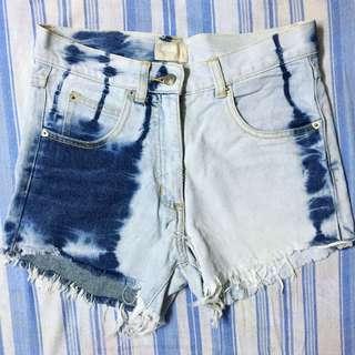 Highwaist Faded Acid Wash Denim Shorts