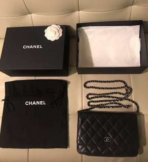 Chanel Classic WOC Dark Navy Wallet on chain