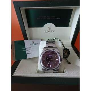 ROLEX 114300 手錶 紅葡萄色 全鋼自動 男裝手錶