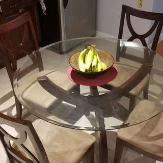 Round Glass Dining Table + 4 Chairs