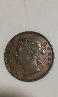 Straits settlements 1899 quarter cents.