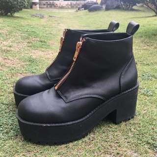 H&M Black Heeled Zipper Boots
