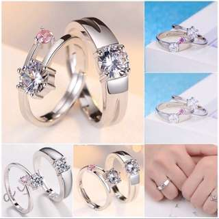 Pink Accent Diamond Couple Rings