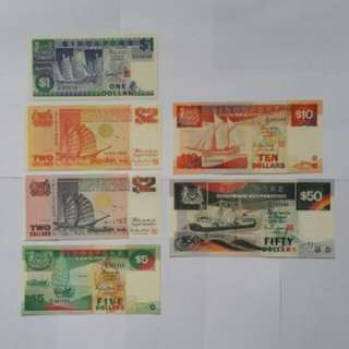 Singapore Ship Series Note UNC $1 to $50