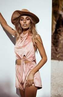Sabo Skirt faux suede playsuit