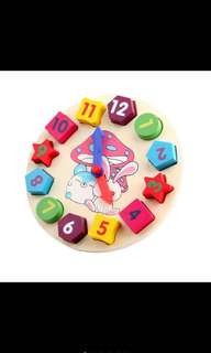Wooden clock educational toy