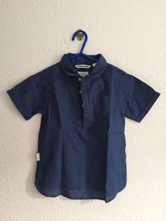 Boys blue collar shirt