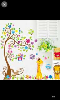 2 in 1 Large Size Giraffe Lion King Cartoon Wall Stickers Bedroom Living Room Kids Room Nursery Wall Stickers Home decor