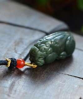 Hetian jade pagoda green dance.