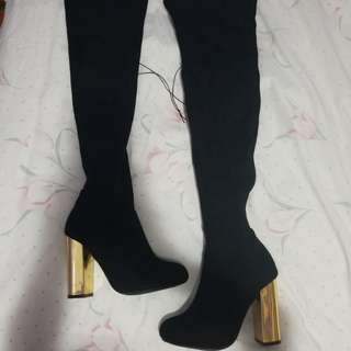 Thigh Highs with Gold Heels